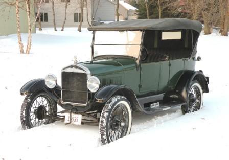 1927 Model T Ford Tourer in snow