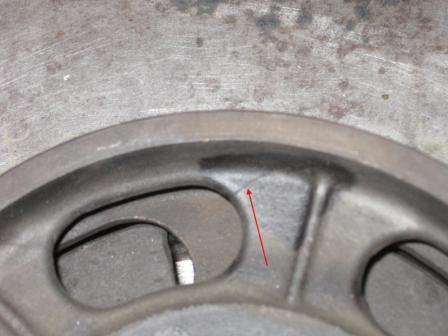 A crack in the centre of the drum, renders it useless