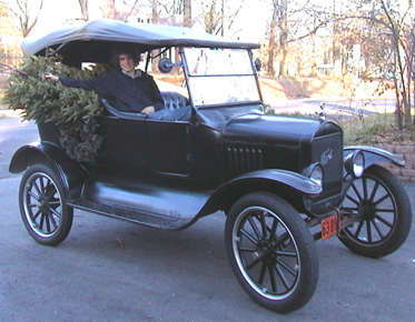 1924 Model T Tourer and Christmas Tree
