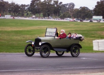 Geof and the T racing at Historic Winton Raceway