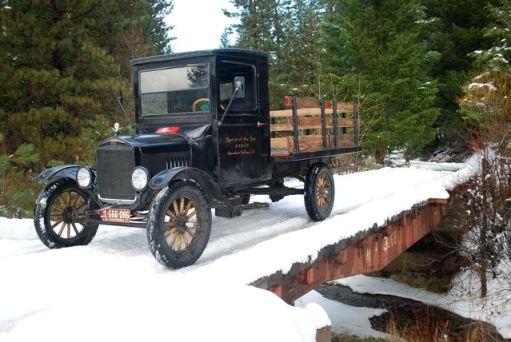 1927 Model TT Ford Truck in snow