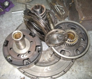 Cleaned and disassembled, the transmission awaits minor repair..