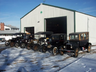 Model T Ford Colelction in snow