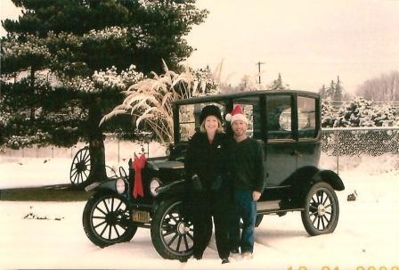 Model T Ford Tudor in snow