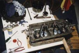 The engine work underway