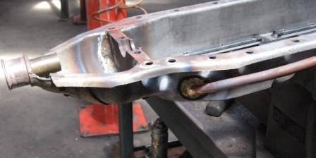 Model T Ford engine sump and oil line