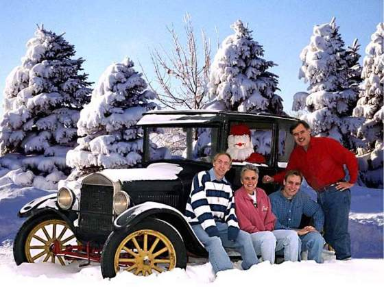 Model T Ford in Christmas snow, Canada